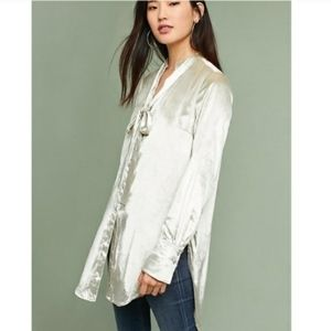 Anthropologie Maeve Crushed Velvet Tie/Scarf Shirt